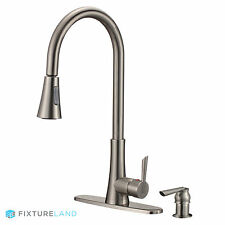 "19"" Brushed Nickel Pull Down Kitchen Sink Faucet with Sprayer & Soap Dispenser"