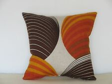 """Vintage Genuine 60s/70s Orange and Brown fabric 16"""" Cushion Cover"""