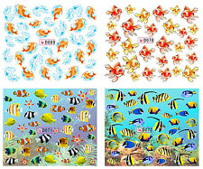 4 Sheet Nail Manicure Tips Water Transfer Decal Sticker Fish D69-72