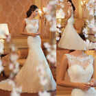 2015 New White/Ivory Mermaid Lace Wedding Dress Bride Gown Size:6/8/10/12/14/16