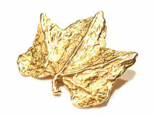 Bijou alliage doré broche créateur feuille D'elfa Paris brooch