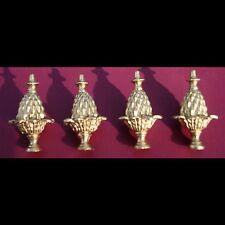 Metal mantel clock finials #2. Set of 4. Clock parts.Metal furniture decorations