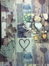 ARTHOUSE RUSTIC HEART BLUE TEAL BROWN  SHABBY CHIC WALLPAPER 669600
