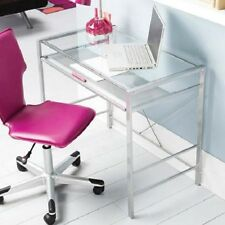 Glass Top Computer Or Work Desk Tray Small Home Office Kids Study Modern Clear