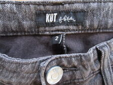 KUT from the Kloth Skinny Jeans Jeggings Womens Sz 2  Faded Gray Blk Rinse VGC!