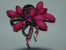 Pink Stone and Crystal Bouquet Brooch