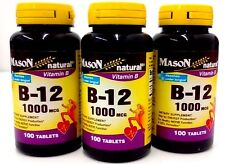 Mason Natural Vitamin B-12 1000mcg Sublingual Tablets - 100 Ea   Pack 3