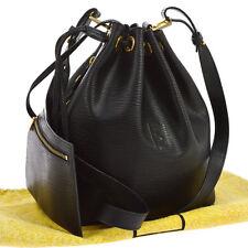 Auth FENDI Drawstring Cross Body Shoulder Bag Black Gold Leather Vintage G02487