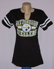 Womens Pittsburgh Steelers Go For Two II Split Neck T-Shirt LRG