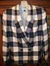 KASPER ASL Womens 8 Navy White Plaid Double Breasted Rayon Lined Blazer
