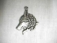 NEW WILDLIFE SPIRIT ANIMAL WOLF HEAD PROFILE VIEW PEWTER PENDANT ADJ NECKLACE