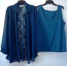NEW Plus size 26/28/4X Teal Lace Back Tunic Blouse set 2pc Top Shirt Long Sleeve