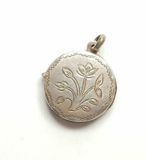 Vintage 925 Sterling Silver TULIP FLOWER PATTERNED ROUND PHOTO LOCKET 3.7g