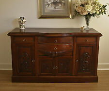Rustic Antique Style Carved Mahogany Bow Front Sideboard Buffet Cabinet TV Stand
