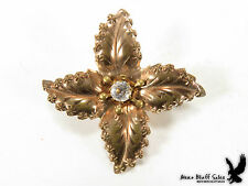 Vintage Victorian Stamped Brass Leaf Collar Lapel Scarf Pin Brooch Crystal Stone