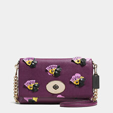 Coach Crosstown Crossbody Shoulder Purple Floral Applique Leather Bag New 37163