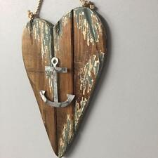 New LARGE RUSTIC WOODEN HANGING HEART WITH TIN ANCHOR Coastal Beach Seaside Home