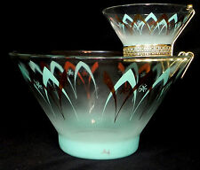 VTG MCM Retro Atomic Glass Chip Dip Bowl Gold Turquoise Aqua Anchor Hocking  BD6