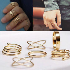 6pcs/set Unique Fashion Gold Plated Midi Mid Finger Tip Stacking Knuckle Rings
