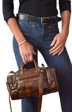 Genuine Leather Handbag Purse Duffel Style Shoulder Bag Women's BROWN Cross Body