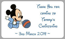 MICKEY MOUSE BABY CHRISTENING LABELS THANK YOU STICKERS BOYS PERSONALISED PARTY