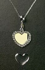 Crystal Heart Necklace Pendant Silver Plated Metal Charm Make Photo Jewelry Gift