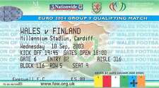 WALES v FINLAND 10 Sep 2003 FOOTBALL TICKET at CARDIFF EURO 2004 QUALIFIER