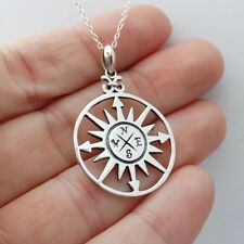 Compass Necklace - 925 Sterling Silver - Direction Graduation Charm Dial NEW