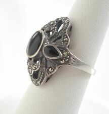 Large Antique Art Deco 925 Sterling Silver Onyx Marcasite Ring Size 7 Vintage