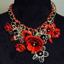 Large Bib Boho Tribal Drop Statement Gold Red Flower Necklace Crystal Chain