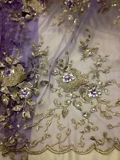 """LILAC MESH W/GOLD SILVER FLORAL EMBROIDERY RHINESTONE LACE FABRIC 50"""" WIDE 2 YD"""