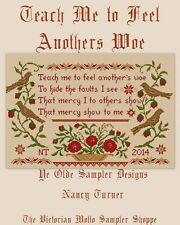 Teach me to feel another's woes,sampler, counted cross stitch chart, new