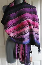 WOMENS  SCARF  pashmina MISSONI  PURPLE BLACK shawl  MADE ITALY ZIGZAG NEW TAGS