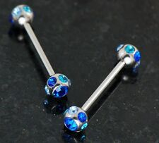 "Pair 316L surgical steel 14g 3/4"" W/7 Blue C.Z. Paved Ball Nipple Rings barbells"