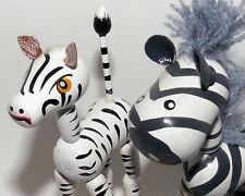 PAIR of Wooden ZEBRA Push Puppets African Animal Toys