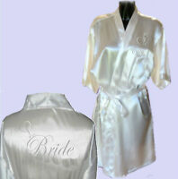 Personalised Silver Heart Satin Wedding Robe / Dressing Gown - Bridal Children's