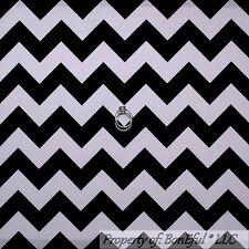 BonEful Fabric FQ Decor Cotton Quilt Black White B&W Wide Retro L CHEVRON Stripe