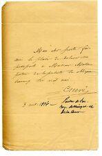 Lettre du peintre Cicéri - 1836 - Passeport Monsieur Mosse