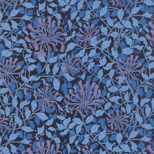 MORRIS JEWELS~BY 1/2 YD~MODA~8115-31~SAPPHIRE BLUE FLOWERS LEAVES ON BLACK~REPRO