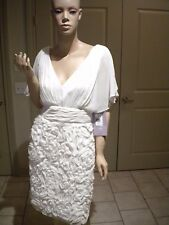 JS COLLECTIONS IVORY CHIFFON SLEEVELESS COCKTAIL DRESS NWT SIZE: 8 $198