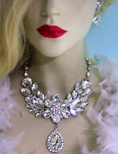 Rhinestone Necklace Earrings Clear Large Collar Crystal Prom Pageant Drag Queen