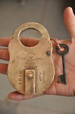 1930's Old Brass Dass & Co. 4 lever Solid Handcrafted Padlock , Rich Patina