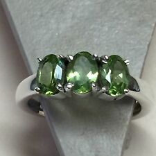 Natural 2ct Peridot 925 Solid Sterling Silver 3-Stone Solitaire Ring sz 6.75