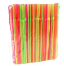 2400 x Neon Flexi Bendy Birthday Party Drinking Straws Assorted Coloured Bar