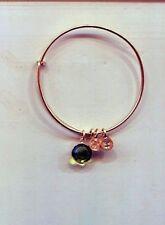 ALEX & ANI gold olive green birthstone charm bracelet