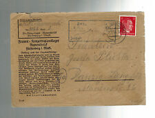 1944 Germany Ravensbruck Concentration Camp Cover KZ to Danzig
