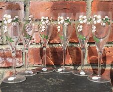 Gorgeous Set Of 6 Floral Enameled Pierre Jouet French Champagne Glasses. 7 1/2""
