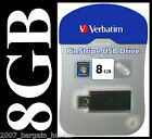 VERBATIM 8GB USB MEMORY STICK PEN FLASH DRIVE CARD PINSTRIPE BLACK FIRST DEL