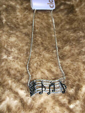new black and silver tone music necklace pop culture fashion jewelry rock n roll