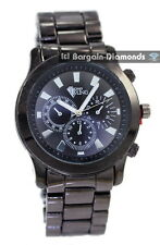 mens gunmetal clubbing sports watch black dial metal bracelet business